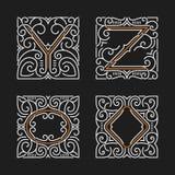 El sistema de emblemas elegantes del monograma Letras Y, Z Ilustración del vector Imagen de archivo