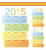 El sistema de español 2015, 2016, 2017 colorea calendarios del vector Imágenes de archivo libres de regalías