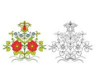 El sistema de esquema y de vintage coloreado florece el ramo o el modelo Fotografía de archivo libre de regalías