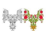 El sistema de esquema y de vintage coloreado florece el ramo o el modelo Imágenes de archivo libres de regalías