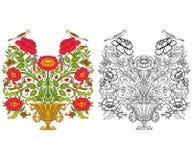 El sistema de esquema y de vintage coloreado florece el ramo o el modelo Imagen de archivo libre de regalías