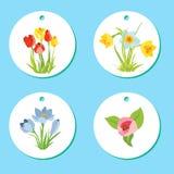 El sistema de etiquetas con la primavera abril florece para Pascua Fotos de archivo