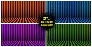 El sistema de fondo de Halloween rayó el sitio en anaranjado, púrpura, azul, verde y negro Ilustración del vector Aislado en el b Stock de ilustración