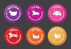 Etiquetas de la carne con los animales de la historieta Imagen de archivo libre de regalías