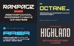 El sistema de fuentes de la exhibición, tipografías, vector letras mayúsculas y a NU libre illustration