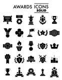 El sistema de ganar, premios vector la línea iconos simples Contiene los iconos tales como Laurel Branch, recompensa, el logro y  Fotos de archivo libres de regalías