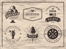El sistema de gelato badges en fondo del papel del vintage Foto de archivo