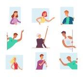 El sistema de gente, mirando hacia fuera la ventana y expresando emociones fuertes, grita y agita sus manos ilustración del vector