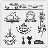El sistema de granjeros comercializa emblemas, logotipos y etiquetas Ilustración del vector ilustración del vector