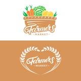 El sistema de granjeros comercializa la mano escrita poniendo letras a los logotipos, etiquetas, insignias, emblemas Fotos de archivo libres de regalías