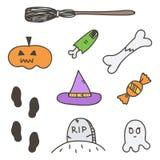 El sistema de Halloween colorido lindo garabatea, las etiquetas engomadas dibujadas mano en el fondo blanco stock de ilustración