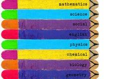 el sistema de helado colorido se pega con la lista escrita de temas foto de archivo libre de regalías