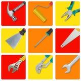El sistema de herramientas de la construcción en rectángulos amarillos, rojos y anaranjados le gusta iconos Imagen de archivo libre de regalías