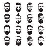El sistema de hombres barbudos del vector hace frente a inconformistas con diversos cortes de pelo libre illustration