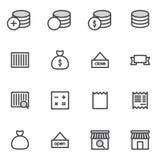 El sistema de iconos de las compras del movimiento del esquema Vector el ejemplo Imagen de archivo