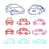 El sistema de iconos de los coches hizo al marcador Fotografía de archivo