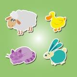 El sistema de iconos del color con el animal doméstico embroma el dibujo Fotografía de archivo libre de regalías