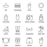 El sistema de iconos del esquema en centro turístico y el mar vacations tema Imagen de archivo libre de regalías