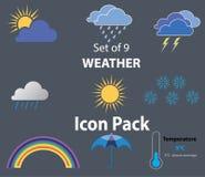 El sistema de 9 iconos del tiempo vector el ejemplo - nubes, sol, gotas de agua, copo de nieve, temperatura ilustración del vector