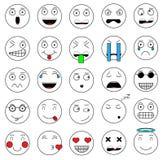El sistema de iconos determinados de la cara del emoji de las emociones hace frente al vintage retro de la cara del pixel libre illustration