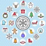 El sistema de iconos planos del diseño de la Navidad se opone el ejemplo determinado del vector Imágenes de archivo libres de regalías