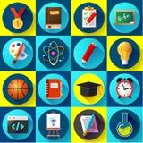 El sistema de iconos planos de la escuela y de la educación vector el ejemplo Imagen de archivo libre de regalías