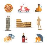 El sistema de Italia aisló iconos planos coloridos del viaje stock de ilustración