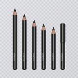 El sistema de lápiz de ojos negro realista dibujó a lápiz, vector el ejemplo en fondo transparente stock de ilustración