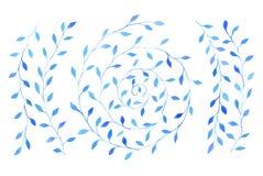 El sistema de la acuarela azul ramifica con las hojas y el espiral de la rama Fotos de archivo