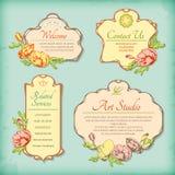 El sistema de la antigüedad del vintage diseñó etiquetas con las flores stock de ilustración