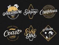 El sistema de la aventura, California, Surfgirl, practicando surf, letras escritas mano de la hawaiana imprime libre illustration