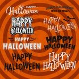 El sistema de la celebración de Halloween cita, el poner letras, las frases y las palabras stock de ilustración