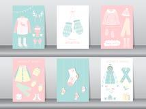 El sistema de la colección linda plana de ropa y de accesorios, cartel, plantilla, tarjetas, invierno del invierno viste, los eje Fotografía de archivo