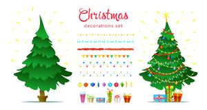 El sistema de la decoración de la Navidad con invierno decorativo aislado se opone Imagen de archivo