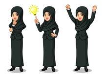 El sistema de la empresaria en traje negro con el velo que consigue ideas gesticula ilustración del vector