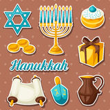 El sistema de la etiqueta engomada judía de la celebración de Jánuca se opone y los iconos stock de ilustración