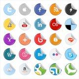 Botones e iconos sociales de los medios de la etiqueta engomada Foto de archivo