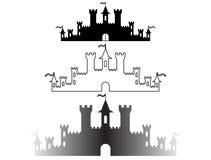 El sistema de la fantasía se escuda las siluetas para el diseño Vector libre illustration
