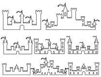 El sistema de la fantasía se escuda las siluetas para el diseño Vector i libre illustration