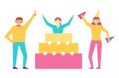 El sistema de la fiesta de cumpleaños de gente que se divierte celebra stock de ilustración