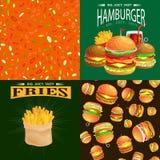 El sistema de la hamburguesa asó a la parrilla la carne de vaca y las verduras frescas vestidas con comida rápida americana de la Foto de archivo