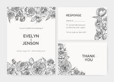 El sistema de la invitación elegante de la boda, tarjeta de la respuesta y le agradece observar las plantillas adornadas por la m ilustración del vector