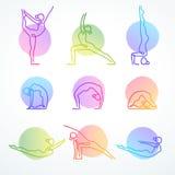 El sistema de la línea colorida figuras del vector en diversa yoga presenta stock de ilustración