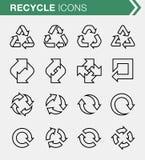 El sistema de la línea fina recicla iconos Fotografía de archivo