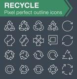 El sistema de la línea fina recicla iconos Foto de archivo