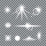 El sistema de la llamarada de la lente con fácil transparente substituye el fondo y corrige colores Elementos EPS 10 del diseño d Imagen de archivo