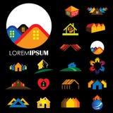 El sistema de la línea iconos de edificios vector el logotipo Imagenes de archivo
