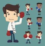 El sistema de la lucha del hombre de negocios con los caracteres de los guantes de boxeo presenta Imágenes de archivo libres de regalías
