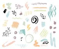 El sistema de la mano del artistich dibujado forma y las texturas Diseñe los elementos para el cartel, tarjeta, invitación, carte libre illustration