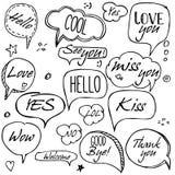 El sistema de la mano dibujado piensa y habla burbujas del discurso con el mensaje del amor, saludos y el anuncio de la venta Imagen de archivo
